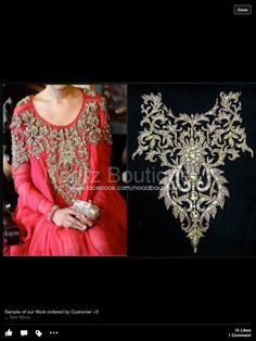 Pakistani designer wear! Loving it! Pearl Embroidery, Couture Embroidery, Indian Embroidery, Hand Embroidery Designs, Embroidery Patterns, Modele Hijab, Desi Clothes, Pakistani Outfits, Kaftan