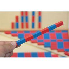 BARRAS ROJAS Y AZULES MONTESSORI para trabajar las matemáticas visualmente