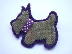 Handmade Brooch, Tweed Scottie Dog Brooch, Tweed brooch, Scottie Dog Brooch,Scottie Dog Pin, Felt Brooch, Dog Brooch, Animal Brooches, by TheCraftyWeeHens on Etsy