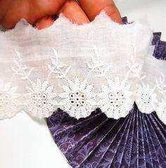5.5 cm Eyelet embroidered cotton trim - Wide borderie anglaise edge white cotton. UK Seller