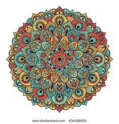 Ornament colorful card with mandala. Mandala Pattern, Zentangle Patterns, Mandala Design, Pattern Art, Circle Mandala, Circle Art, Chinese Patterns, Mandala Artwork, Doodle Inspiration