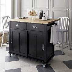 Belmont Black Kitchen Island In Top Furniture Crate And Barrel
