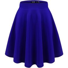 Thanth Womens Versatile Stretchy Pleated Flare Short Skater Skirt ($12) ❤ liked on Polyvore featuring skirts, mini skirts, flared skirt, blue skirt, blue circle skirt, circle skirt and short mini skirts