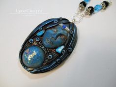 RESERVED for DENA The Seer blue & black polymer clay and resin jewelry pendant necklace handmade One of a Kind by LynzCraftz on Etsy