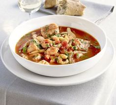 Mediterranian Fish Stew ~ 40 mins ~ Per serving:  241 calories, protein 34.3g, carbohydrate 6.5g, fat 7.5 g, saturated fat 1.0g, fibre 1.7g, salt 1.95 g ~ Serve with steamed veg