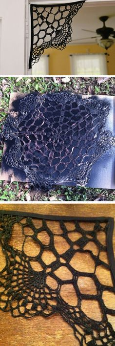Doily Spiderweb | Click Pic for 21 Easy DIY outdoor Halloween Decorating Ideas | DIY Fall Decorations for Outside Yards