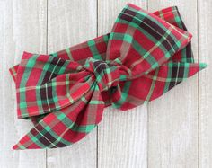 Holiday Christmas head wrap bow accessories plaid