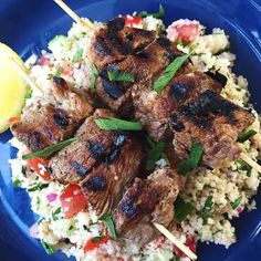 This couscous tabbouleh is also delish with chicken or beef skewers.Get the Recipe: Grilled Lamb Ske... - Anna Watson Carl