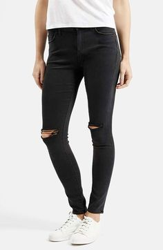 Free shipping and returns on Topshop Moto 'Leigh' Ripped Skinny Jeans (Short & Regular) at Nordstrom.com. Mid-waisted skinny jeans in a faded black wash are scratched up, shredded at the knees and cropped above the ankle for a vintage punk vibe.