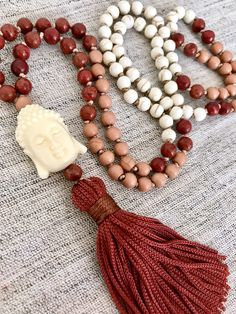 Mala necklace coral howlite mala necklace Buddha mala necklace tassel necklace yoga mala white brown mala necklace meditation necklace by Katiaicrafts on Etsy
