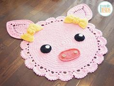 You'll Love These Crochet Animal Rug Patterns Crochet Pig, Crochet Pillow, Crochet Beanie, Baby Blanket Crochet, Crochet For Kids, Crochet Animals, Crochet Yarn, Crochet Blankets, Crab Stitch