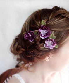 Eggplant flower hair accessory, purple flower hair pins, bridal hair accessory, bridal hair accessories – FLEURIE – wedding flower. $40.00, via Etsy.