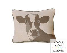 happy cow rustic modern needlepoint or cross by ModernNeedleworks, $16.00