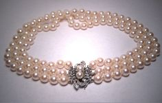 Antique 8mm Akoya Pearl and Diamond Necklace Art Deco Choker 14K WGold