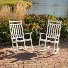 Dixie Seating Indoor/Outdoor Slat Rocking Chairs - White - Set of 2 - Indoor Rocking Chairs at Hayneedle