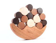 wood balancing toy - natural wooden stacker game, colorful Smiling Moon balancer, educational play, homegrown organic finish. $38.00 USD, via Etsy.