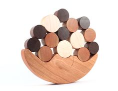 wooden balancing toy - natural wood game, Smiling Moon colorful balance and stacking toy, eco educational play with homegrown organic finish. $37.00, via Etsy.