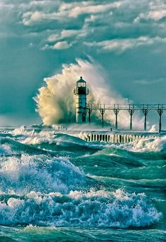 The powerful crash and churn of Lake Michigan waves against the lighthouse at St Joseph, Michigan, USA No Wave, Beautiful World, Beautiful Places, Beautiful Ocean, Amazing Places, Beacon Of Light, All Nature, Nature Quotes, Am Meer