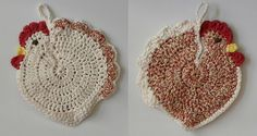"Who says potholders can't be fun? This Crochet Chicken Potholder it's easy to make, it's fun and you can make lots of them in ""chicken colors"""