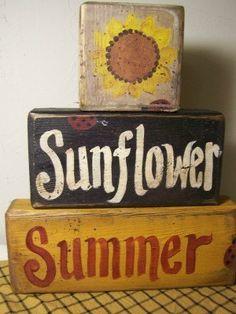 Sonnenblume Sommer stapelnde Holzblock Zeichen von trimblecrafts