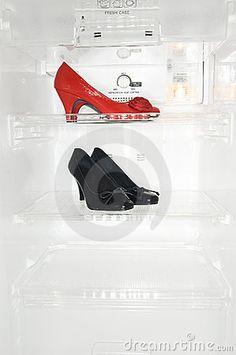 High heel shoes in fridge