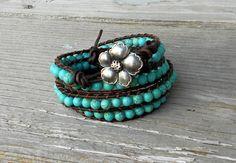 Turquoise wrapped leather bracelet on Etsy. <3