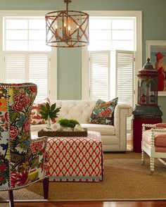 Living Room - Beautiful wall color - Fun Spool Chair and Schumacher fabric by…