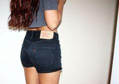 black denim high-waisted shorts