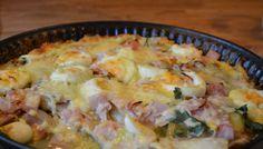 Witlofschotel met ham en ei! Om de schotel iets minder vet en machtig te maken, gebruikte ik 20 gr boter en kookroom light. Smaakte ook heerlijk!