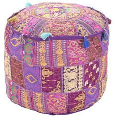 Indian Patchwork Round Ottoman Pouf Cover, Bean Bag Footstool, Bohemian Vintage Cotton Fabric Hand Embroidered Chic Pouf Floor Seat Cover Pouf Ottoman, Ottoman Decor, Ottoman Cover, Mandala Hippie, Turquoise Cushions, Handmade Ottomans, Stool Covers, Bean Bag Covers, Indian Home Decor