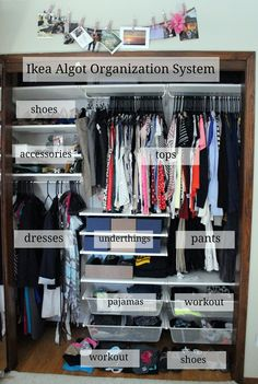 Installing the Ikea Algot Closet Organizing System Ikea Closet Organizer, Bedroom Closet Storage, Wardrobe Storage, Wardrobe Closet, Ikea Algot, Wardrobe Organisation, Closet Organization, Kid Closet, Closet Ideas