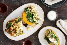 Stuffed Pumpkin with Feta, Spinach and Walnuts Get the scoop on this delicious stuffed pumpkin recipe. Roast your butternut while you cook quinoa, then mix it up with spinach and feta for a savoury contrast to the sweet roasted pumpkin.