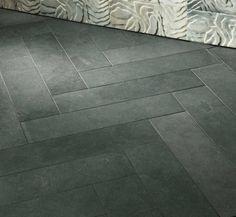 com - Fun with Flooring - Ann Sacks Galaxy Black Limestone Tiles-no grout showing Herringbone Tile Floors, Limestone Flooring, Slate Flooring, Concrete Floors, Herringbone Pattern, Penny Flooring, Tiled Floors, Farmhouse Flooring, Concrete Kitchen