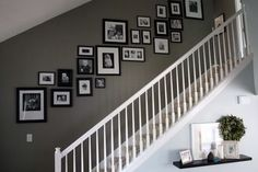 Pictures on Stairs - Photowall Ideas Pictures On Stairs, Stairway Photos, Stairway Gallery Wall, Picture Wall Staircase, Stairway Paint Ideas, Stairway Decorating, Wall Pictures, Photo Wall Design, Photowall Ideas