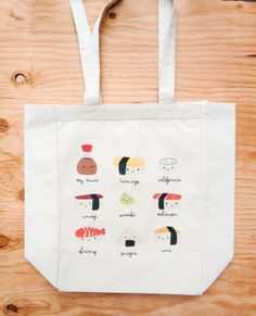 Hey, I found this really awesome Etsy listing at https://www.etsy.com/listing/178814231/sushi-variety-canvas-tote-bag-funny-cute