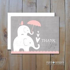Baby Thank you Cards / Instant Download / Elephant Shower with Pink Umberlla and Hearts / DIY Printable Item 10553P