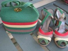 Spectacular 1940s Set Raffia Multi Colored Peeptoe Pumps Shoes Bag Purse 40s | eBay