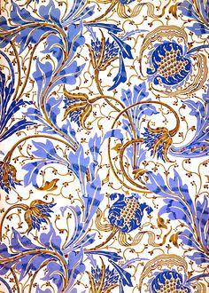 Walter Crane, Pomegranate and Teazle design, 1894 blue white gold brown