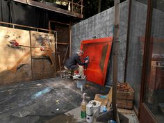 David Lynch painting in his studio From a nice... - Austin Kleon