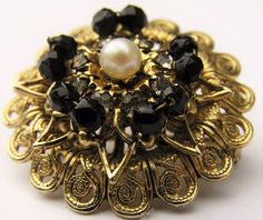 Vtg Black Cluster Bead Rhinestone Faux Pearl Filigree Brooch Gold-Tone Dome Pin #Unbranded