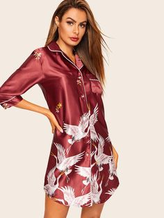 To find out about the Crane Print Satin Shirt Dress at SHEIN, part of our latest Nightgowns & Sleepshirts ready to shop online today! Satin Cami Top, Satin Shorts, Pijama Satin, Satin Pajamas, Satin Sleepwear, Nightwear, Satin Color, Satin Blouses, Collar Styles