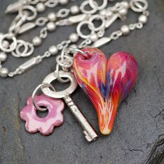 Glass Heart Pendant Boro Lampwork Unlock My Heart