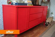 Before & After: A Neutral Credenza Goes Colorful