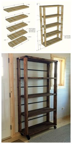 Ana White Build a Reclaimed Wood Rolling Shelf Free and Easy DIY Project and Furniture Plans Wood Projects For Beginners, Diy Wood Projects, Furniture Projects, Pallet Furniture, Furniture Stores, Easy Projects, Kitchen Furniture, Rustic Furniture, Steel Furniture