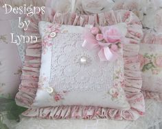 Pink Roses & Lace Ruffled  Sachet Pillow Designs By Lynn-pink, roses, shabby, chic, ruffles, Victorian, Vintage, Lynn,PINK,Lady,