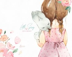 Little spring mia bunny watercolor clipart girl rabbit banner kids flowers pink delicate bab Watercolor Clipart, Watercolor Illustration, Graphic Illustration, Watercolor Paintings, Girls With Flowers, Nursery Art, Cute Drawings, Cute Art, Bunny