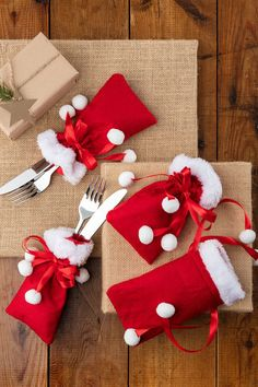 Santa Sack Cutlery Holder Set of 4