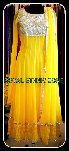 STYLE NO. REZ 221 YELLOW ANARKALI SUIT PRICE- 12000/- FABRIC- GEORGETTE EMBROIDERY- GOTTA WORK , THREAD WORK