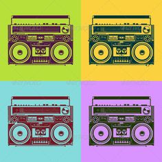 Buy Psychedelic Style Old-School Tape Recorders by Vecster on GraphicRiver. Old-school tape recorders in psychedelic style. EPS and JPG file. Graphic Artwork, Graphic Design Typography, Boombox, Speaker Drawing, 90s Art, Old School Fashion, Oldschool, Grunge, Audio