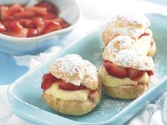Strawberry and vanilla custard profiteroles, pastry recipe, brought to you by recipes+